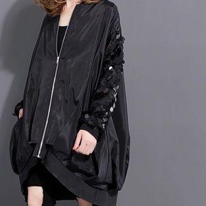 Jackets & Blazers - SUPER overseized Bomber jacket , paillette sleeves